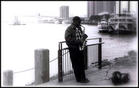Sax Player on the New Orleans Levy